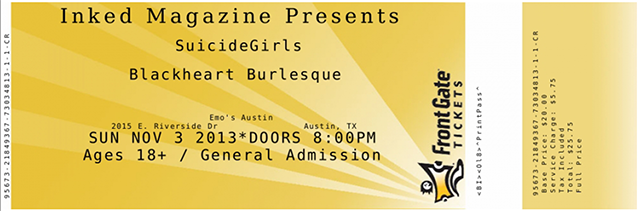 SuicideGirls Blackheart Burlesque ticket