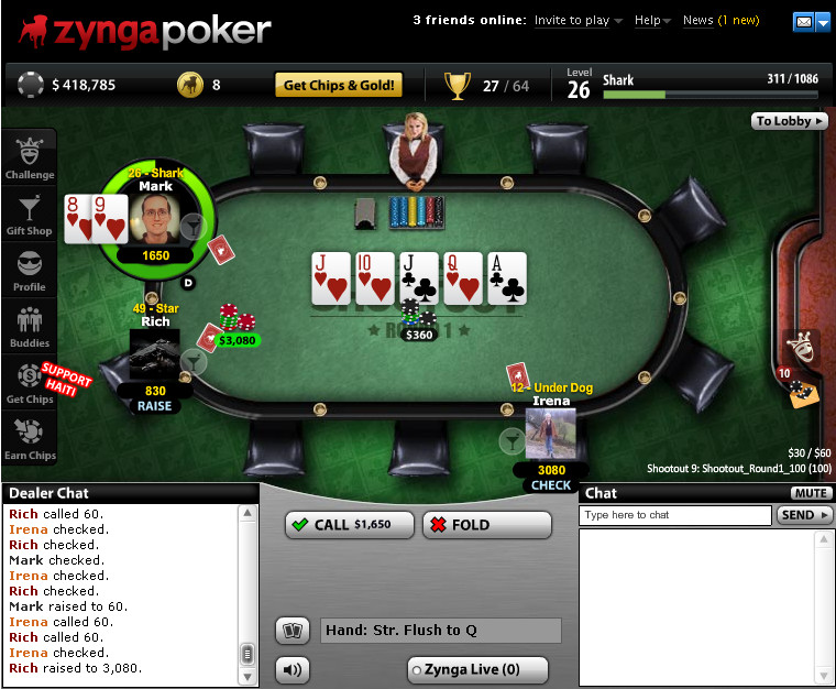 Zynga bottom straight flush