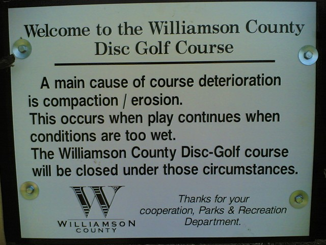 Williamson County Disc Golf Course sign #1