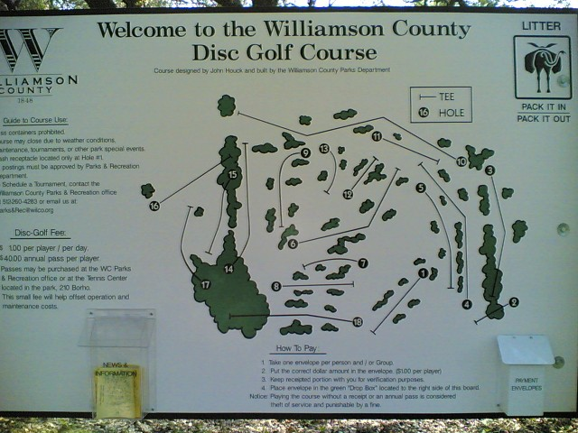 Williamson County Disc Golf Course sign #2