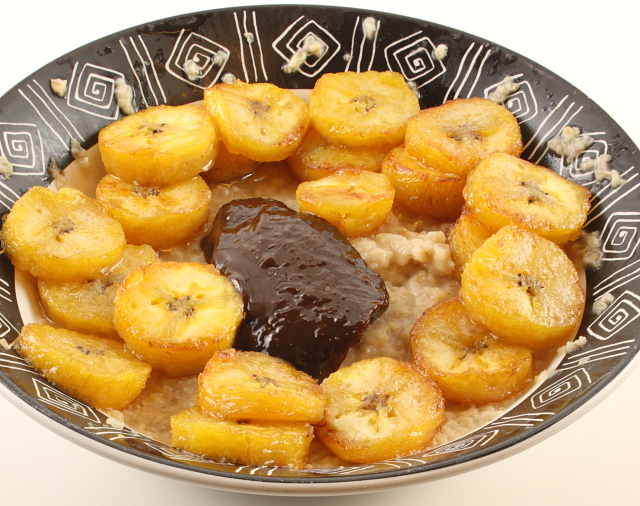oatmeal, fried plantains, and dulce