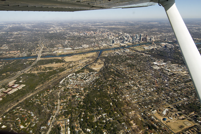 Austin skyline from the air