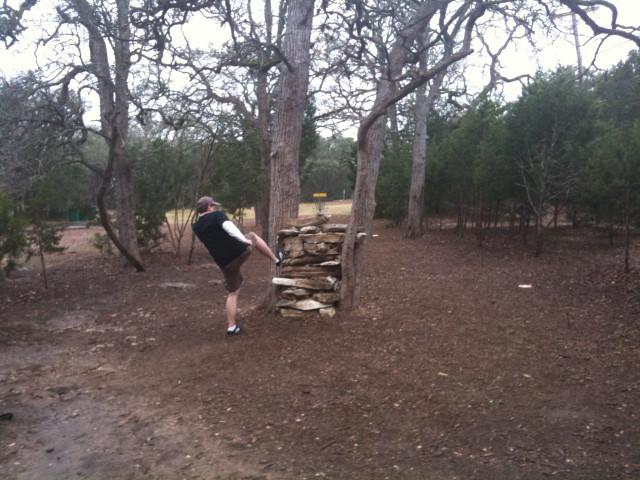 Mike kicking new wall
