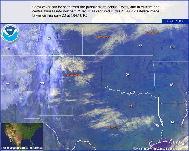 Austin snowfall satellite view